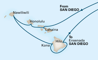 Holland America Hawaii cruise map