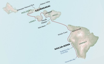 Uncruise Hawaii cruise map